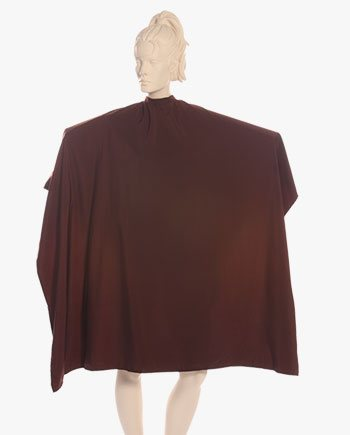 custom salon aprons and capes, brown color stylist capes, hair cutting capes