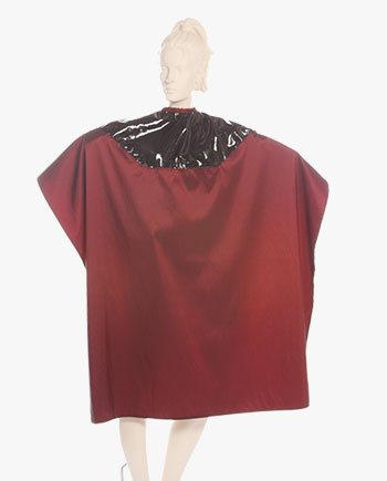 Mulit-Purpose Embroidered Salon Cape Two Tone Capes Silkara Iridescent Fabric in Red