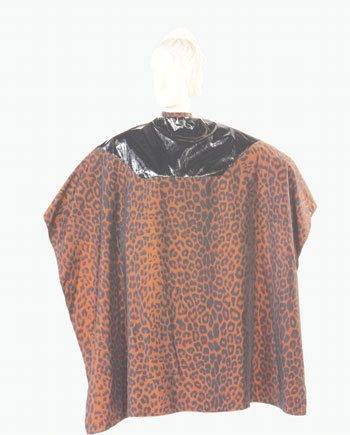 Hair Cutting Mulit Purpose Salon Cape Two Tone Cape Silkara Iridescent Fabric Leopard Print