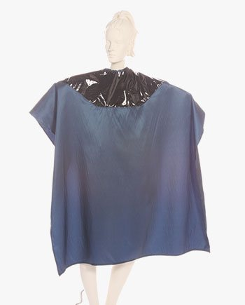 Hair Cutting Mulit Purpose Salon Cape Two Tone Cape Silkara Iridescent Fabric Navy