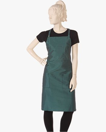 custom salon bib aprons in green color, hair stylist bib aprons for spa