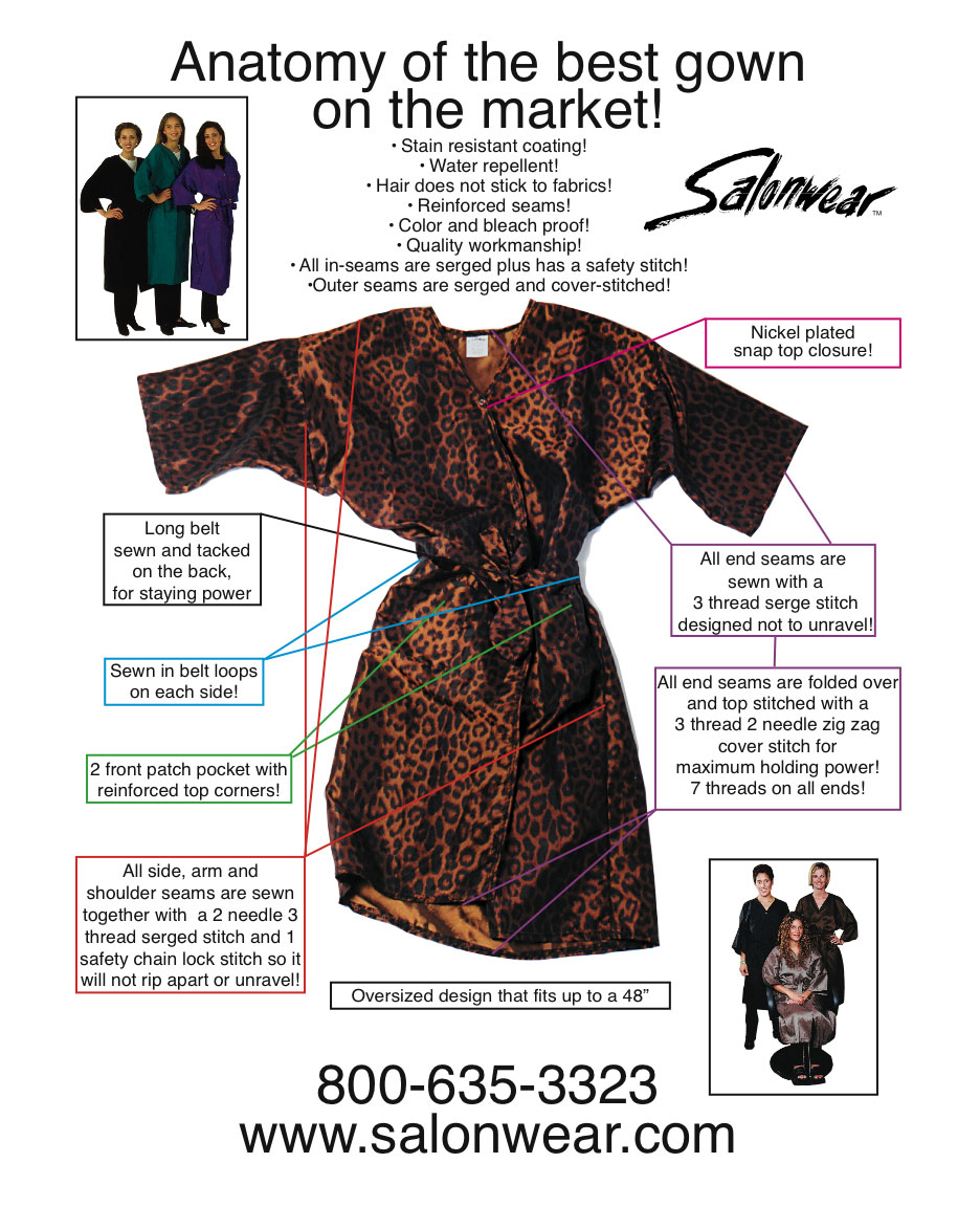 best salon gown in the market, top salon gown at salonwear