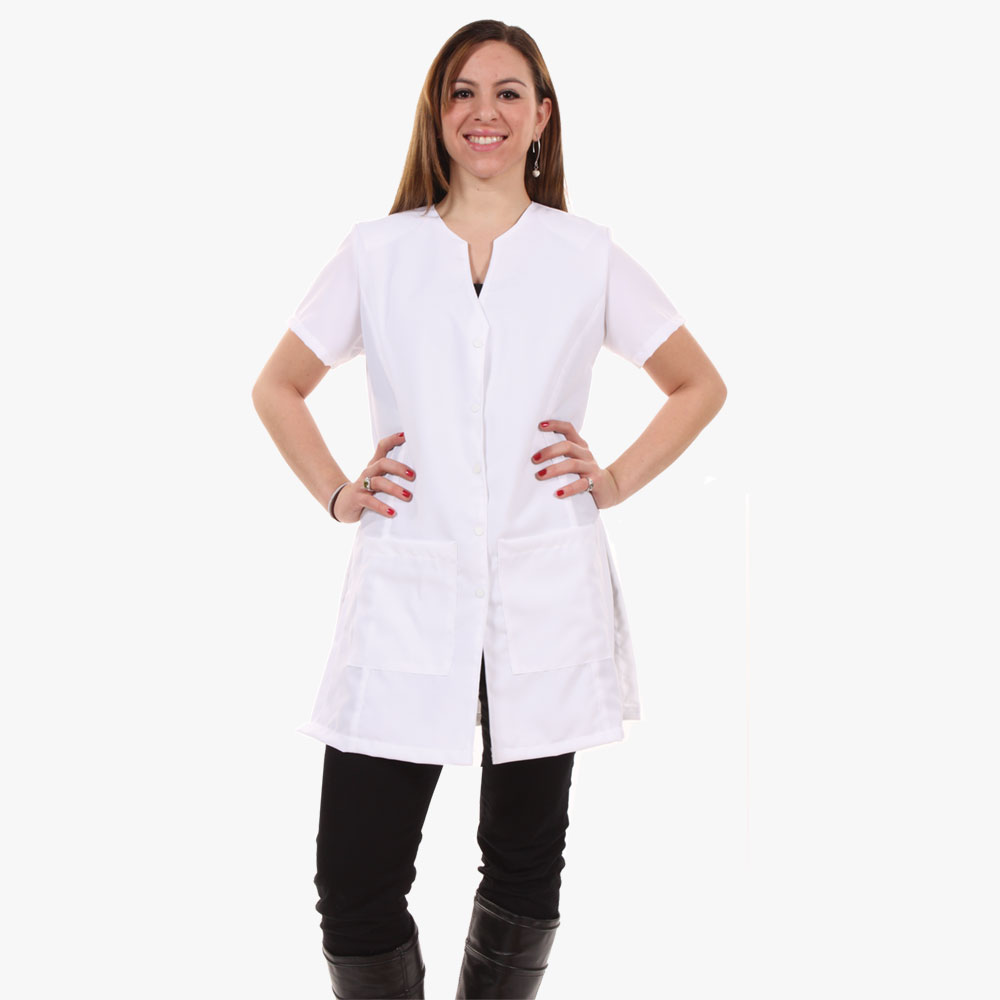 Shop white v neck polyester coat and jacket for women for Spa uniform europe