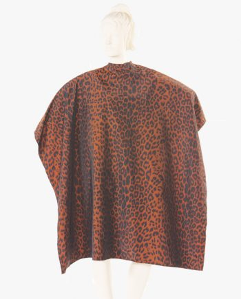 embroidered salon capes leopard print, custom salon capes with logo, screen printed salon capes