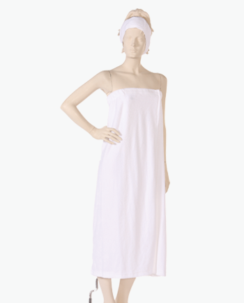 Body Wrap with Hook and Loop Closure Stretch Terry fabric in White