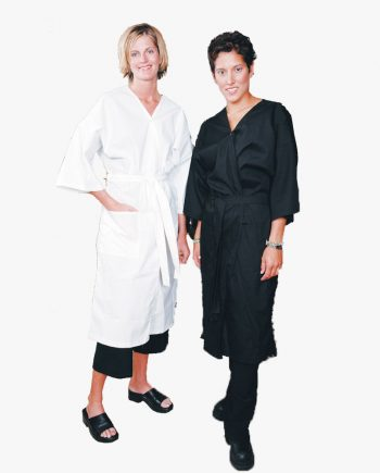 Client Gown Cotton Poplin in Black, Client Gown Cotton Poplin in Black White