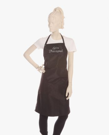 Black Bib Apron with Rhinestone Skin Therapist