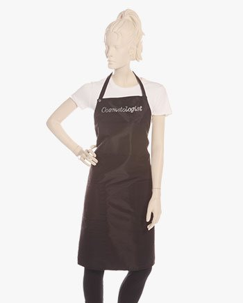 black ruffle cosmetologist apron with rhinestone cosmetologist, stylish cosmetologist aprons in black color for women