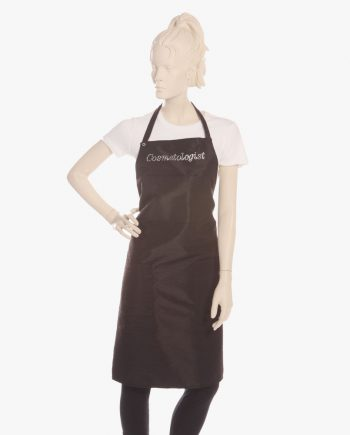 Stylish cosmetologist aprons in black color for women, Black ruffle cosmetologist apron with rhinestone cosmetologist