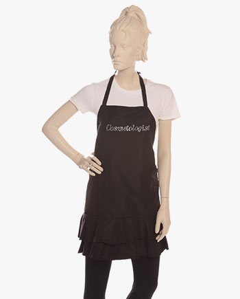 stylish cosmetologist aprons in black color for women