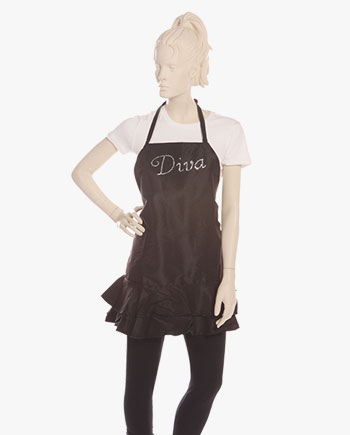 diva aprons for sale, rhinestone diva aprons in black, diva apron, stylish diva aprons