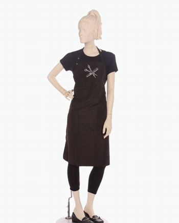 scissor and comb printed on bib apron