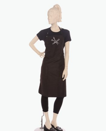 custom black apron printed with scissor and comb rhinestone