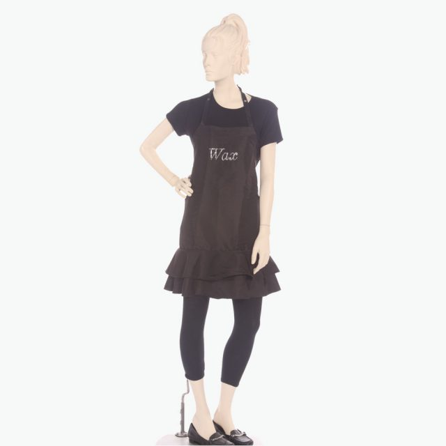 Personalized ruffle aprons. Printed with text wax